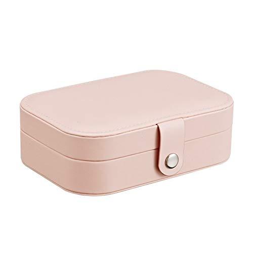 YNuo Protable Bijoux en Cuir Boîte de Rangement Boucles d'oreilles Bague Collier Jewel Case Emballage Cosmétique Voyage Beauté Organisateur Container Box (Color : Pink)