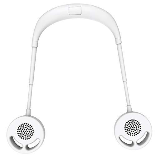 Mingfa Persönlicher Ventilator ohne Blätter, USB wiederaufladbar, Nackenbügel, fauler Hals zum Aufhängen, Dual-Lüfter für Reisen und Sport, ABS, weiß, One Size