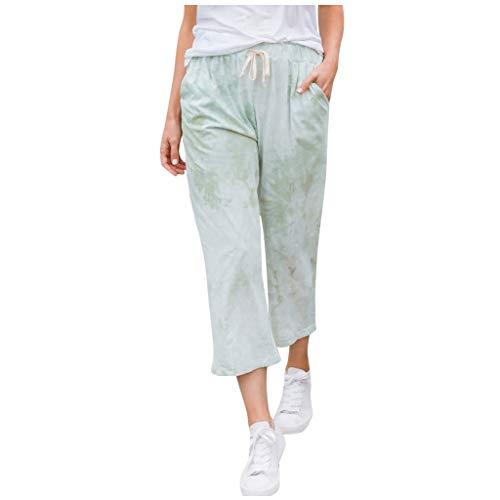 Gahrchian Womens Comfy Lounge Pants Active Elastic Waist Pants Baggy Workout Sweatpants Pocket Palazzo Trousers(Mint Green,Medium)
