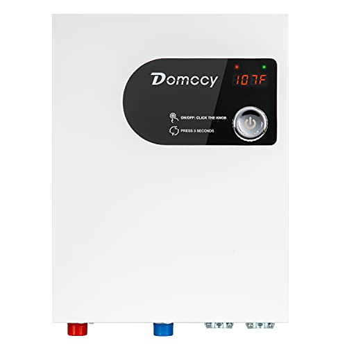 Tankless Electric Water Heater Instant On Demand 24KW 240V, Hot Water Heater Digital Display Premium Metal, Domccy Electric Hot Water Heater with Self-Modulating Overheating Protection, White