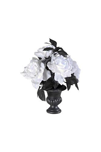 Vaas met 6 witte rozen met gekleurde lichtjes