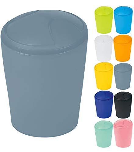 Spirella Kosmetikeimer Move Abfalleimer Schwingdeckeleimer | Kunststoff | 2 Liter |Grau