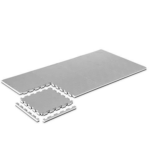 Pro Game Set 8 Stück Tatami Matte Fitness 3,5 cm Gym-Home Schwarz/Grau 50x50 cm Zusammensetzbare Puzzlematte