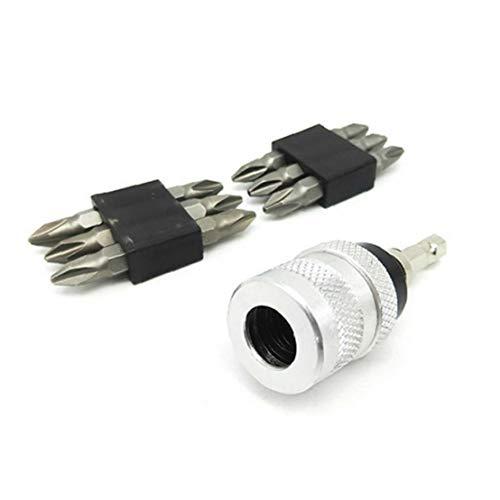 Portabrocas adaptador convertidor Destornillador Porta-puntas vástago hexagonal zócalo de liberación rápida con 10 bits de cruceta