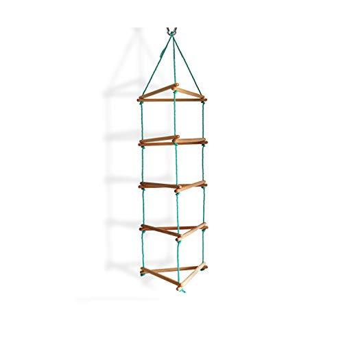 Kletterwand mit 3 stabilen SeilenStrickleiter, Spielzeug, belastbar bis 60 kg, Kinder Indoor - Outdoor Kletterleiter mit 15 Sprossen aus Holz, Klettergerüst, Kletterwand, ab 3 Jahre