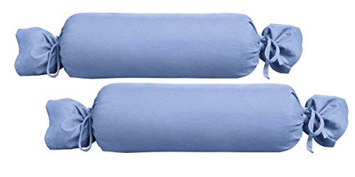 Biberna 0077144 Funda para Rollos de Cuello, algodón Peinado, Muy Suave Jersey Fino 2X 15x40 cm, Azul