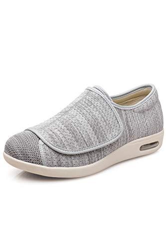 DENACARE Women's Wide Width Shoes with Adjustable Closure Lightweight for Diabetic Edema Plantar Fasciitis Bunions Arthritis Swollen Feet-SW2 Grey