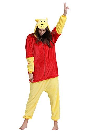 Unisexo Comodidad Suave Franela Animales Traje de Dormir Cosplay Ropa de Salón Pijamas (S, Winnie The Pooh)