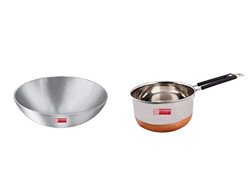 Kitchen Expert Combo of Aluminium Kadhai & Stainless Steel Copper Base Saucepan, Set of 2 pcs