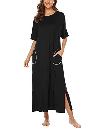 BESDEL Nightgown Damen Schlafanzug Baumwolle Nachthemd Lange Nachtwäsche Schlafanzug Schwarz XXL