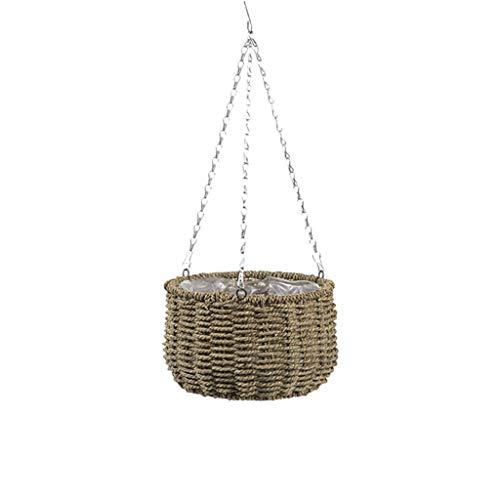 hfior Macetero colgante de hierba hecha a mano, maceteros colgantes para balcón, decoración de jardín