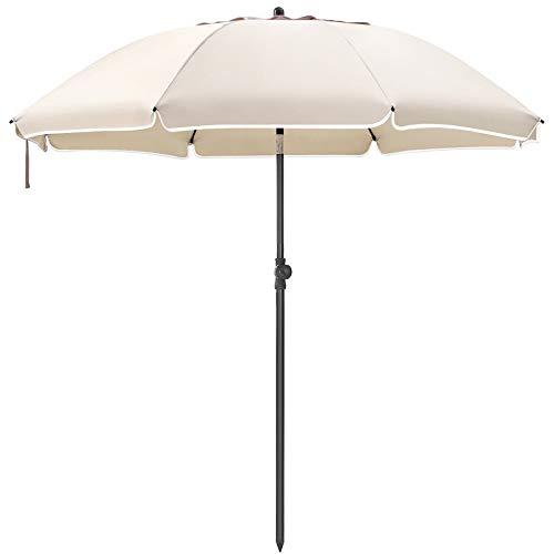SONGMICS Sonnenschirm, 200 cm, Sonnenschutz, Gartenschirm, achteckiger Strandschirm aus Polyester, Schirmrippen aus Glasfaser, knickbar, für Garten, Balkon, beige GPU001N01
