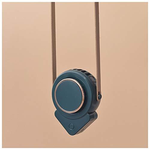 VAST Ventilador para colgar en el cuello, mini ventilador USB perezoso para estudiantes al aire libre, triángulo sin hojas, mini sitio de construcción portátil (color: verde)