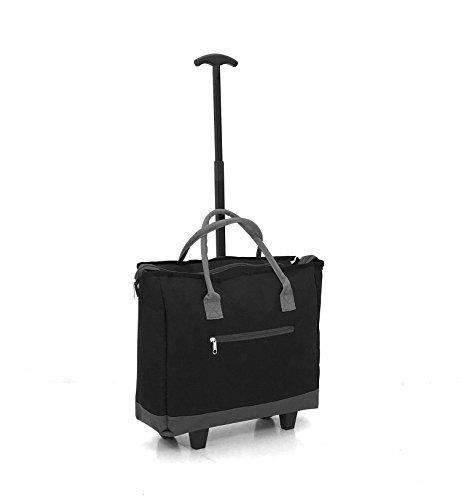 Lightweight Shopping Tote Bag on Wheels, Shopping Trolley, Travel Bag, Overnight Case (Black & Grey)
