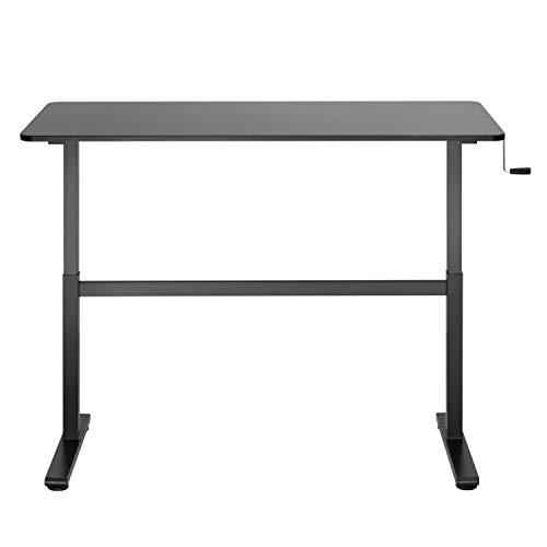 HOKO Ergo-Work-Table COMPACT - Scrivania regolabile in altezza, completa di piano del tavolo, colore nero, funzionamento manuale con manovella, lavoro ergonomico seduto e in piedi