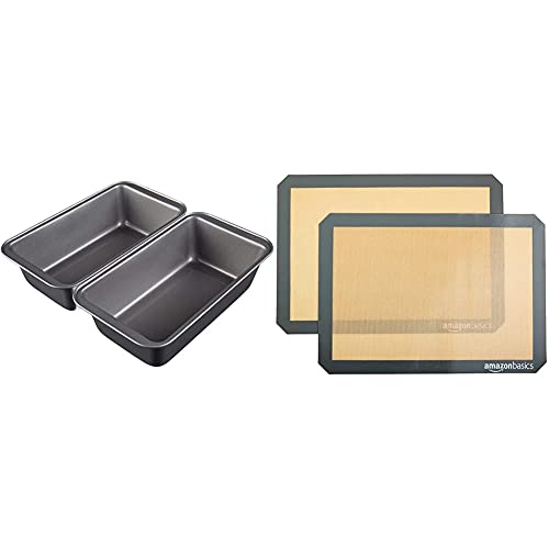 Amazon Basics Nonstick Baking Bread Loaf Pan, 9.5 x 5 Inch, Set of 2 & Silicone, Non-Stick, Food Safe Baking Mat - Pack of 2