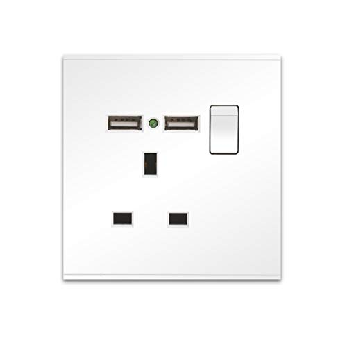 CNBINGO Single Switched Power Socket with 2 USB Charging Ports, Screwless Flat Plate, Power Indicator, 13 Amp, White