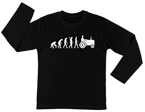 Evolutie Trekker Unisex Kinder Jongens Meisjes Lange Mouwen T-shirt Zwart Unisex Kids Boys Girls's Long Sleeves T-Shirt Black