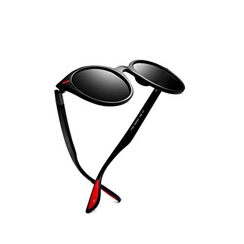 kimorn Gafas De Sol Polarizado Unisexo Deporte Clásico Marco Ovalado Caucho Rojo Gafas K0625 (Mate-Negro&Gris)