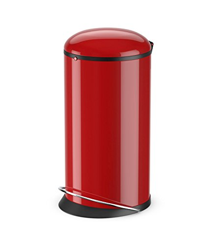 Hailo Harmony L, Mülleimer aus Stahlblech, 20 Liter, breite Metall-Fußreling, Müllbeutel-Klemmung, Deckeldämpfung (Soft Close), rot, Made in Germany, 0531-040