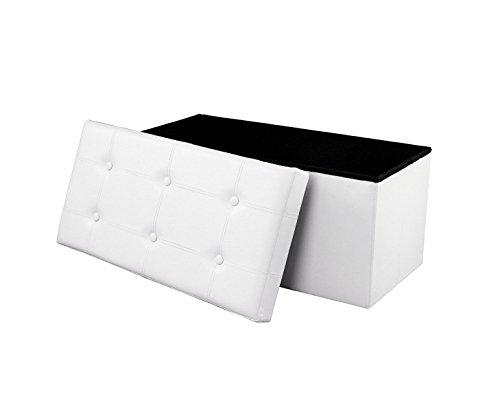 Soontrans Baúl Puff Taburete Almacenaje Plegable Caja Asiento Banqueta de Almacenamiento 76 x 38 x 38 cm máxima de 300 kg(Blanco)