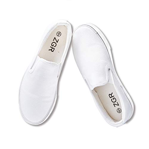 ZGR Women's Slip On Canvas Loafer Shoes Fashion Low Cut Sneakers,White,US6…