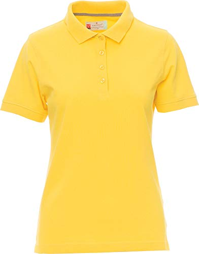 PAYPER Damen Polohemd Venice 100% Baumwolle Kurzarm 4 Knöpfe Nackenband, Farbe:Yellow;Größe:XL