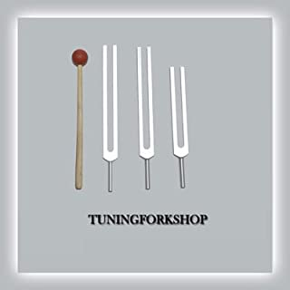 TFS Tuningforkshop 3 Pc Missing Sacred Solfeggio Tuning Fork for Healing with Mallet+Pouch