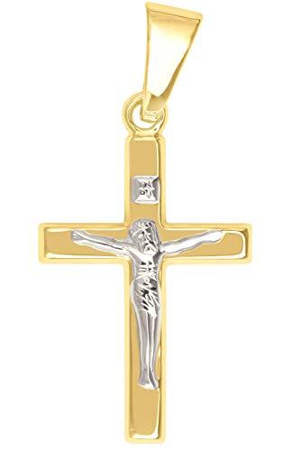 MyGold krzyżyk (bez łańcuszka) żółte złoto 375/750 złoto (9/18 karatów) dwukolorowy 20 mm x 10 mm korpus złoty krzyż zawieszka The very Best MOD-02212 e 18 karatów (750) Bicolor, colore: złoto, cod. V0012688
