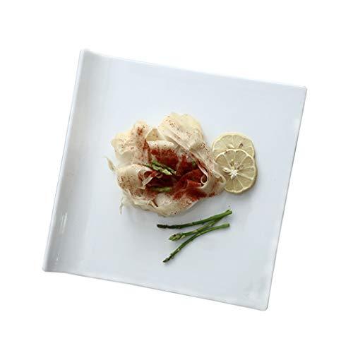 Assiette Céramique Blanche Pure Western Dish Froide À Steak À Pâtes Carrée Sushi À Pâtisserie De Salle À Manger 30cm