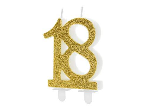 Candela 18 ANNI diciottesimo cmpleanno oro glitter 7.5 cm