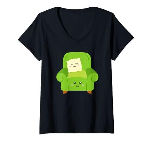 Mujer Sillón amistoso y cojín de dibujos animados fácil silla almohada Camiseta Cuello V