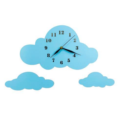 BABEES Kinder Wanduhr Wolken, Uhr ohne Tickgeräusche, Kinderuhr für Kinderzimmer, Lautlos Uhrwerk, Wanddeko Skandi Deko Jungs blau