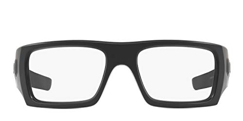Oakley Men's Det Cord Rectangular Glasses (Matte Black, 61 mm) Bundle with Large Metal Vault Case and USA Flag Lens Cleaning Kit