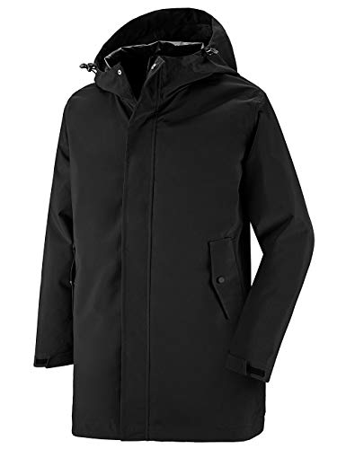 Wantdo Men's Waterproof Raincoat with hood Windproof Long Rainwear Black S