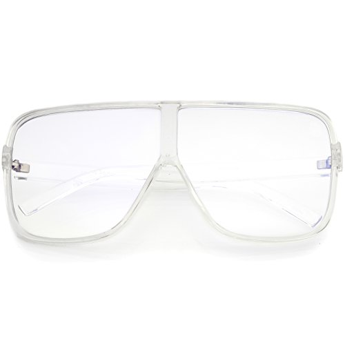 zeroUV - Oversize Thick Flat Top Frame Super Flat Clear Lens Square Eyeglasses 69mm (Clear/Clear)
