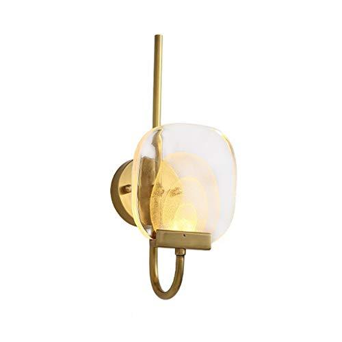 Pointhx Lámpara de pared Nordic de lujo, todos los cobre, lámpara de pared G9, 1 luz, pantalla de cristal, lámpara de noche, salón, pasillo, bar, cocina, isla