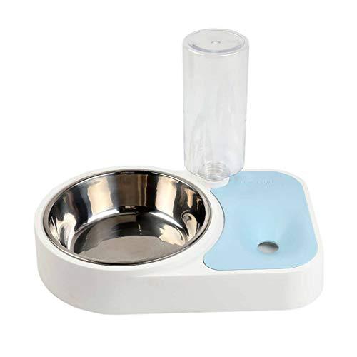JHLD Katzen Hunde Napf Wasser Und Futter Napf Kombination Abnehmbar Automatische Spender, Edelstahl Tierfutterautomat Für Mittel Kleine Katzen Hunde-Blau-1