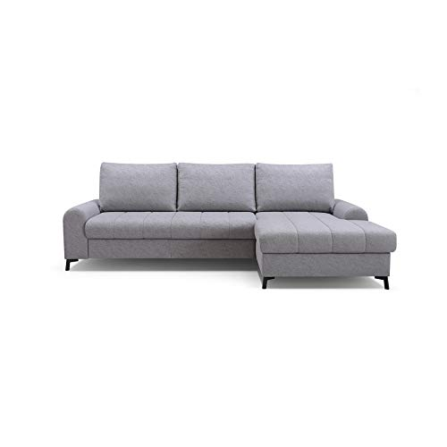 mb-moebel Ecksofa mit Schlaffunktion Eckcouch mit Bettkasten Sofa Couch L-Form Polsterecke Delice (Hellgrau, Ecksofa Rechts)