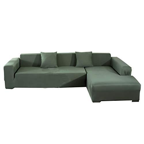 CENPENYA Funda para sofá esquinero con chaise longue con funda elástica resistente y cómoda, funda para sofá con forma de L, color verde
