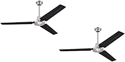 Ciata Lighting Industrial 56-Inch Three-Blade Indoor Ceiling Fan, Brushed Nickel Finish with Black Steel Blades - 2 Pack