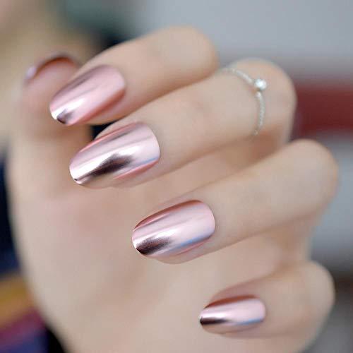 TJJF Ongles en métal mat Conseils d'art rose clair métallisé miroir pré-conçu faux ongles fée ovale belles ongles brillants pour femmes