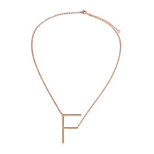 AKKi jewelry Buchstaben Halskette für Damen Kette,aus Edelstahl ABC Anhänger Halsschmuck Name Alphabet Silber Rosegold schräg F