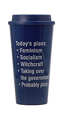 Get Bullish Today's Plans: Feminism, Socialism, Witchcraft, Pizza BPA Free Feminist Travel Mug in Navy Blue Holds 16 oz
