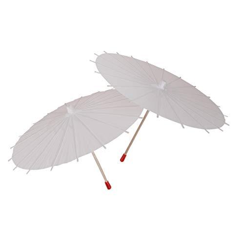LUOEM 2Pcs White Paper Parasol Umbrella Chinese Japanese Paper Umbrella Wedding Decoration