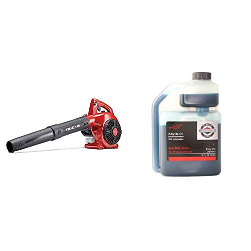 Craftsman B215 25cc 2-Cycle Engine Handheld Gas Powered Leaf Blower - Gasoline Blower with Nozzle Extension for Lawn Care, Liberty Red & Briggs & Stratton 2-Cycle Easy Mix Motor Oil - 16 Oz. 100036