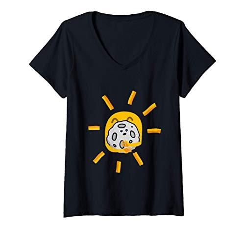 Donna Sole che abbraccia pepite - Mese della colazione migliore Maglietta con Collo a V