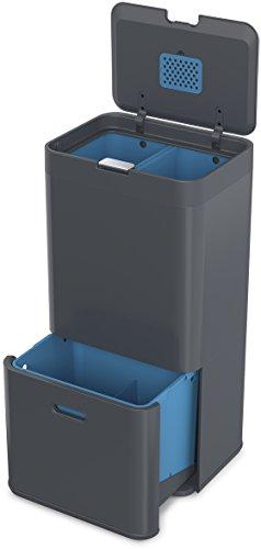 Joseph Joseph Intelligent Waste Totem Recycle Bin Separation Unit, 15 gallon / 58 liter, Graphite