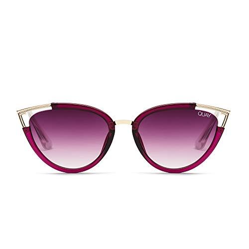 Quay Australia HEARSAY Women's Sunglasses Cateye with Metal Accent - Red/Purple Fade