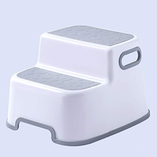 2 Step Stool for Kids,Versatile Toddler Stool with Anti-Slip Soft-Grips and Safety Anti-Slip Pads,Toddler Stool for Toilet Potty Training (Gray)